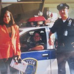 Sylvia Burrough posing with Police officers